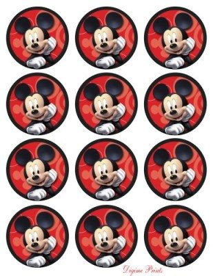 Mickey Mouse Printable Party Cupcake Toppers, Stickers, Bottle Caps