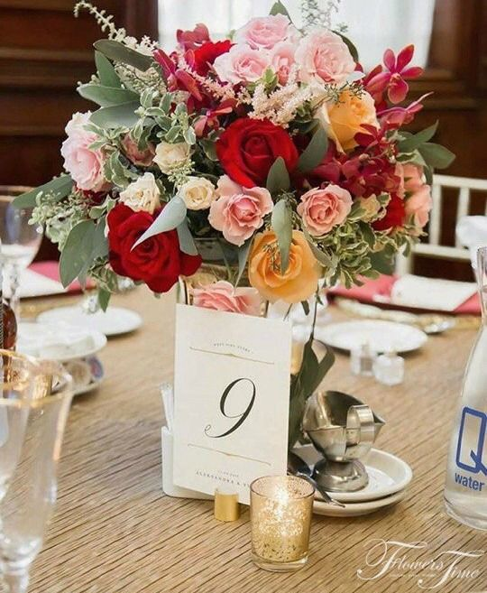 Mix flowers low centerpiece by Flowers Time#rose#red#orange#greenery#wedding#table#toronto