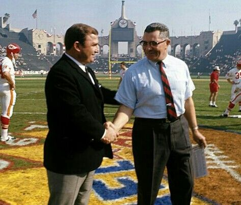 Coaches Hank Stram and Vince Lombardi shake hands before Super Bowl I at the L.A. Coliseum - Jan.15, 1967