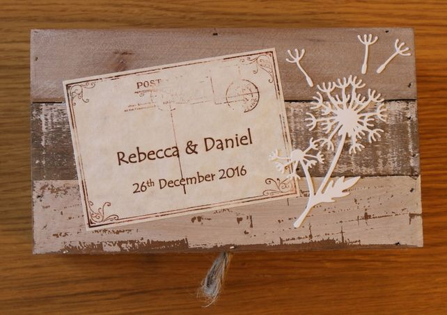 Handmade Personalised Wooden Wedding Dandelion Wishes Box with twig pen , vint £28.99