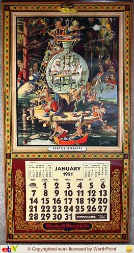 Dingbat calendar. Created for Frosst in 1911 - then Merck Frosst . Produced 1911-1996. I actually have a framed one that I LOVED and looked for ... took me years to find it