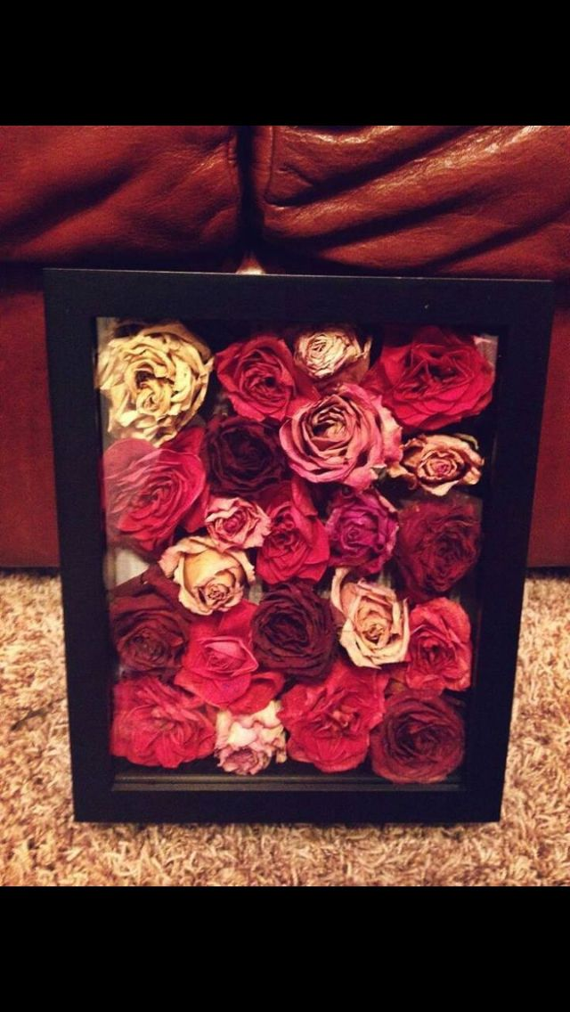 Wedding (or any other special occasion) bouquet - dry flowers and place in a frame/shadow box
