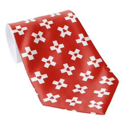 Switzerland Flag with  Heart pattern Tie - accessories accessory gift idea stylish unique custom
