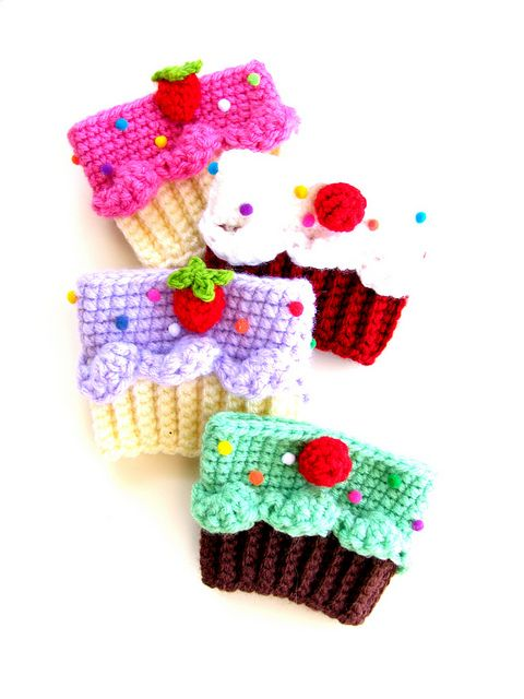 Cupcake Coffee Cup Cozies ~ do any of my friends know how to crochet? I may NEED one of these....