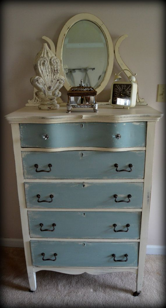 Hand Painted Antique Tall Dresser With Ornate By