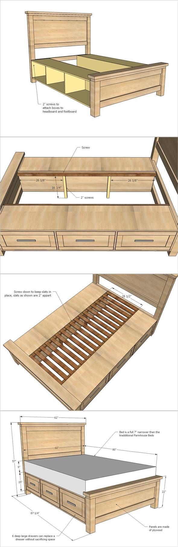Bed frame with storage - Creative Ideas How To Build A Farmhouse Storage Bed With Drawers