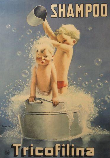 Vintage Ad  - By Gino Boccasile (1901-1952), - Tricofilina shampoo.