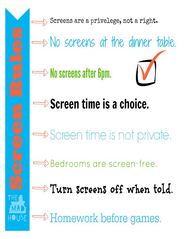 Screen Time Rules post available from Mum in the Mad House.  Is screen time and technology a battle ground in your home.  These simple rules help establish a happier home and a baseline to work from.