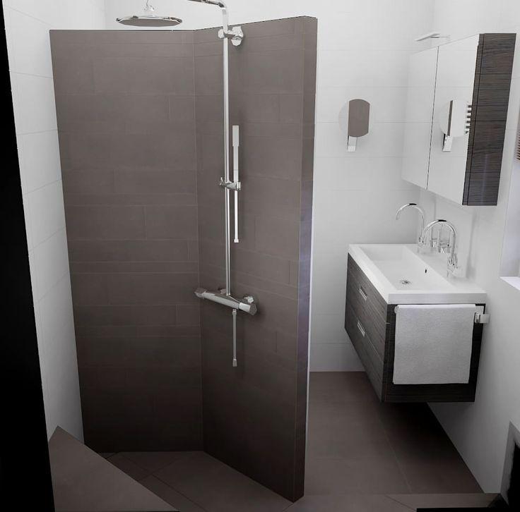 inloopdouche met betegelde douchewand : moderne Badkamer door Sani-bouw