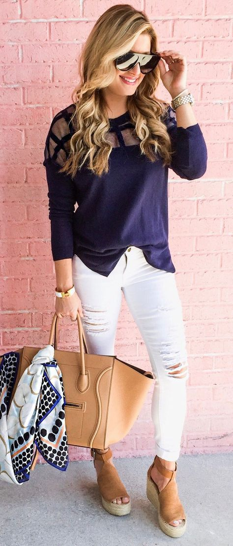 #spring #fashion Navy Top & White Ripped Skinny Jeans & Brown Platform Sandals