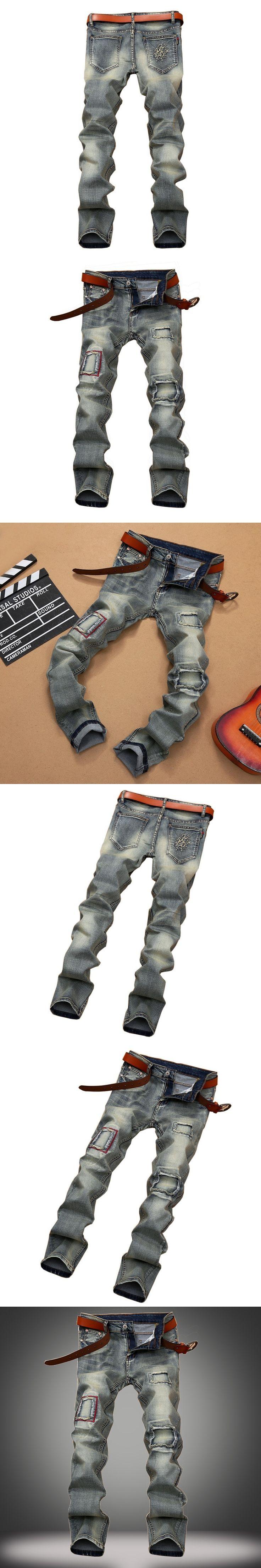 New Arrival Autumn 2016 Mens Vintage Patchwork Ripped Biker Jeans Men Nostalgia Slim Destroyed Torn Denim Jeans Pants