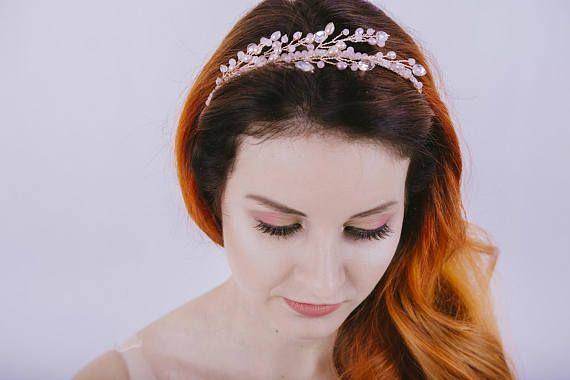 rose gold pearl headband Blush pink