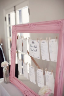this would be a super easy DIY. Get an empty frame, paint it, hang string across and staple on back, and hang seating arrangements with close pins. Doing this for sure