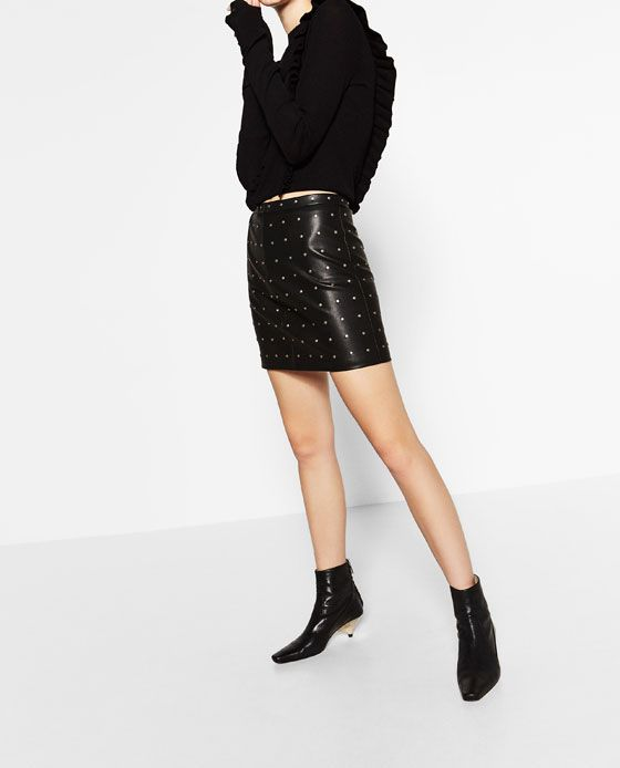 Image 4 of SHORT LEATHER-EFFECT SKIRT from Zara