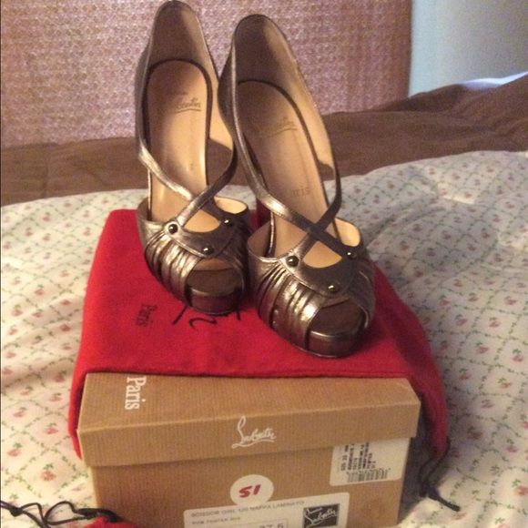 """Christian LOUBOUTIN scissor girl pumps Gold peep toes. Heels are 4.75 """" with red bottoms . Good condition in box with duster. Christian Louboutin Shoes Heels"""