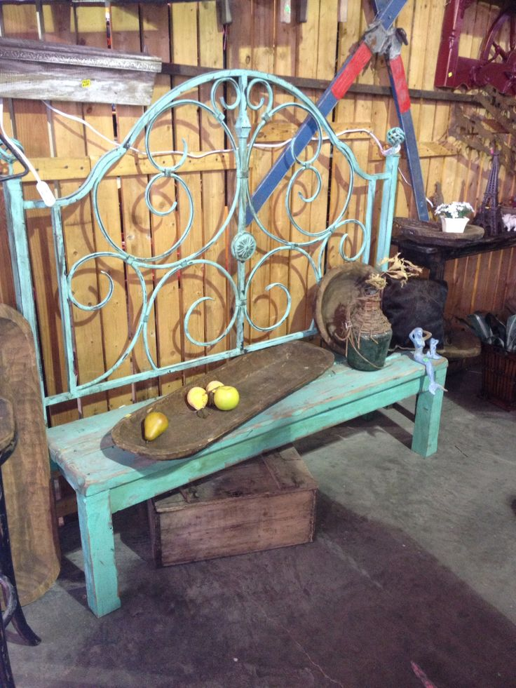 Love this bench made from a bed headboard; D.K.Antiques booth, Canton Trade Days, Canton, Texas.