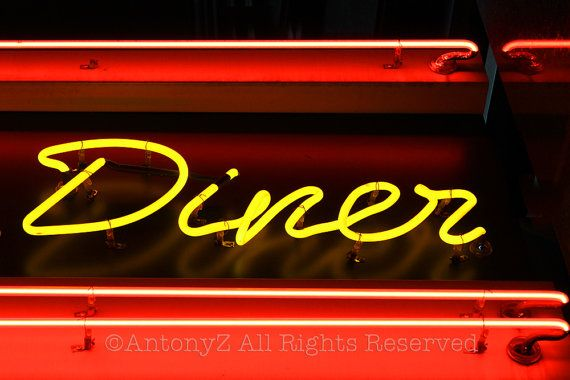 Red Yellow Neon Diner Kitchen Sign in New York City 8 x 10 Fine Art Print