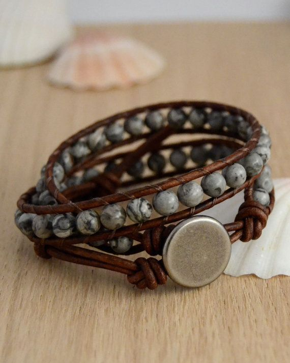 Natural stone bracelet. Earthy double wrap by SinonaDesign on Etsy, €32.00