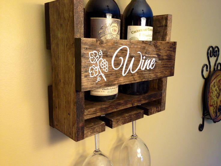 Personalized Wine Rack Custom Rustic 2 Bottle Wall Mount