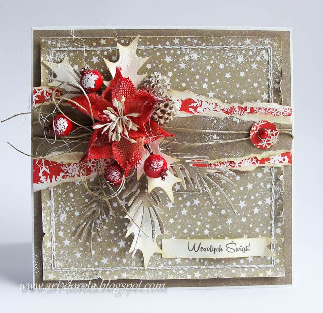 christmas card with poinsettia berries holly - red white grey colours - Dorota_mk: New, new ...