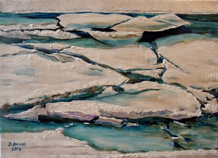 Débâcle glaciaire , peinture à l'huile sur toile de lin : Peintures par danielle-arnal-peintre-des-glaciers