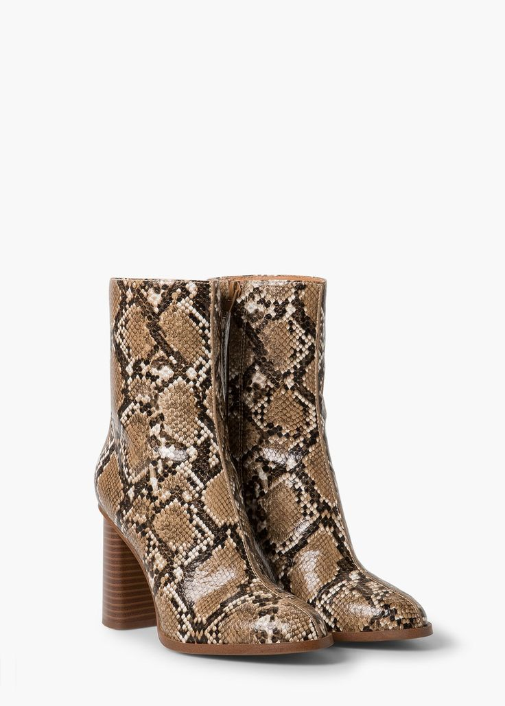 Snake-finish ankle boots