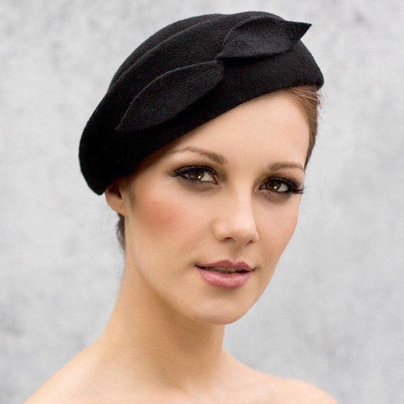 Black Beret Chic Felt Hat Womens Hats by MaggieMowbrayHats on Etsy