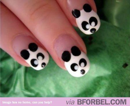 Simple Panda Nails #cuteNails #adorable #animals #funny