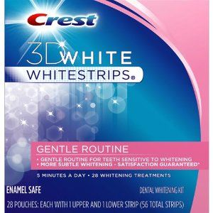 Crest 3D White Whitestrips, Gentle Routine Dental Whitening Kit 28 treatments by Crest. $32.99. Crest 3D White - Gentle Routine Whitestrips. 28 Pouches:Each with Upper and Lower Strip (56 total strips). More Subtle Whitening. Gentle Routine For Teeth Sensitive To Whitening. White bond protection helps prevent new stains from forming.. 5 Mintues A Day - 28 Whitening Treatments. crest 3d white strips 56ct gentle routine enamel safe