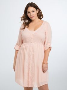 Plus Size Fashion, Embroidered Gauze Shirt Dress (plus size) #plussizefashion #dress #spring big size fashion http://amzn.to/2kRZpiY