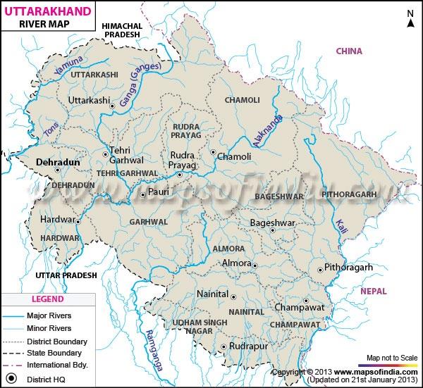 uttarakhand river map culture india pinterest