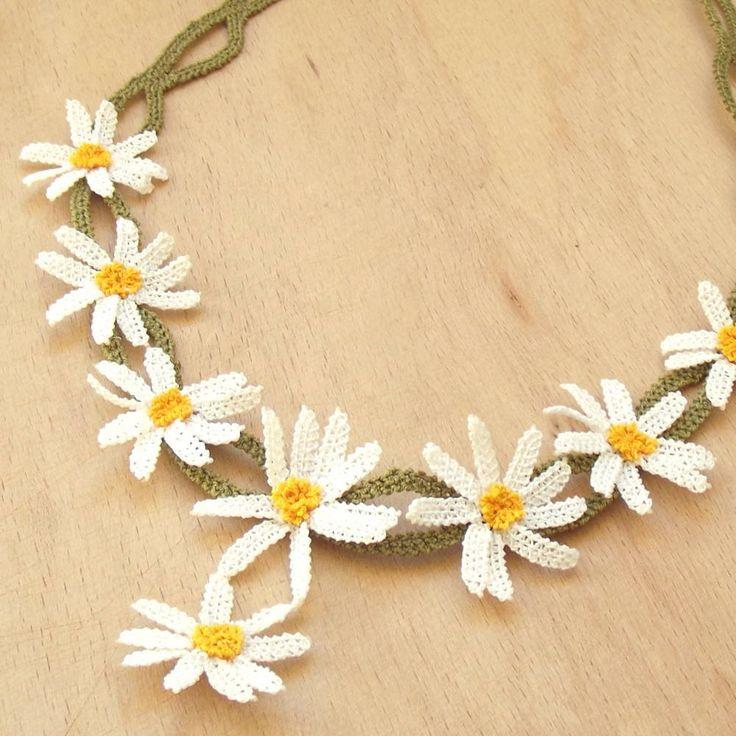 Turkish OYA Lace - Silk Necklace  - Daisy by DaisyCappadocia on Etsy