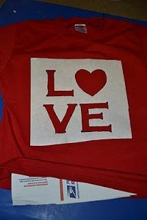 Freezer Paper Stenciled Valentine's Shirts