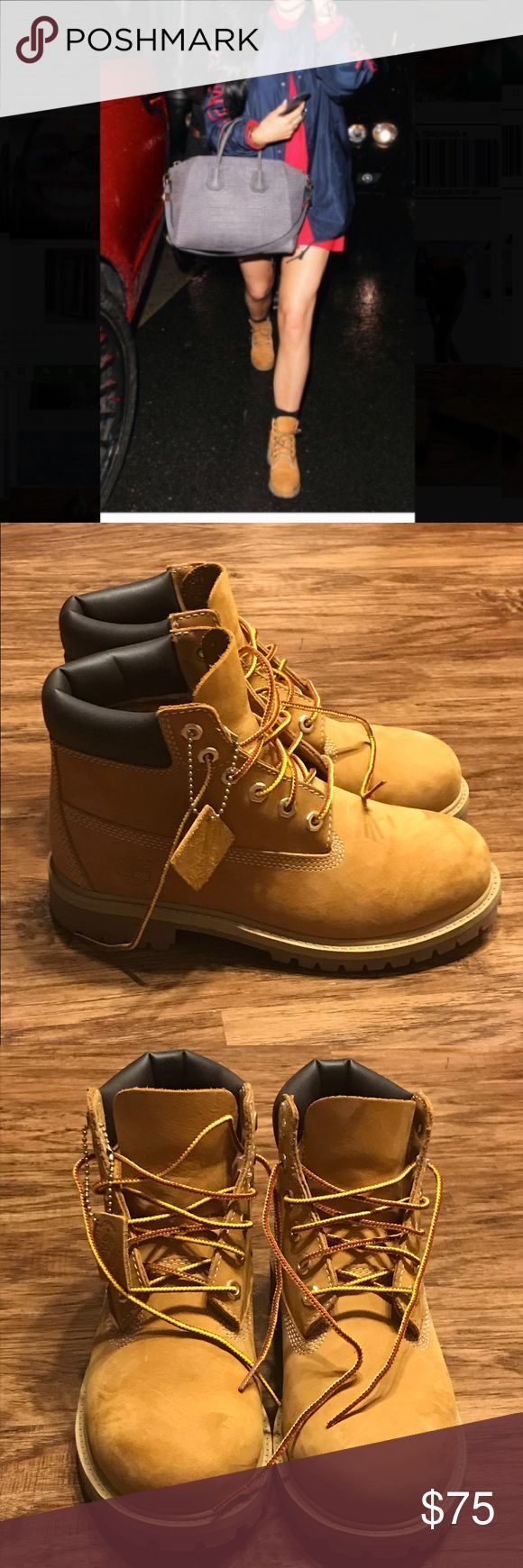 Wheat Timberland Boots Worn Once. Perfect Condition. Size 3 in Boys - Equivalent to a Size 6 in Women. Timberland Shoes Winter & Rain Boots