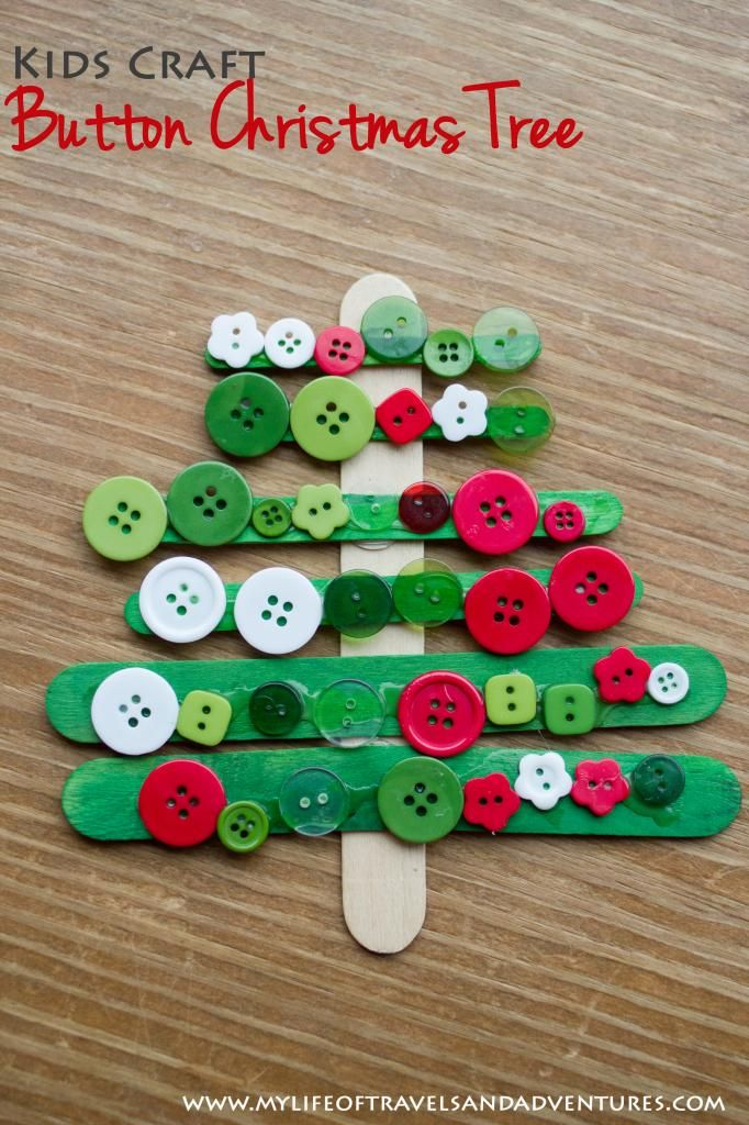 Button Christmas Tree - Easy Kids + Toddler Christmas Craft.