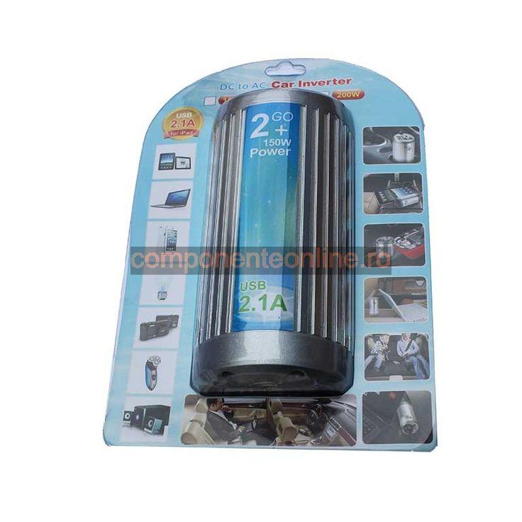 Invertor de tensiune, 12V - 220V AC, 150W, cu USB - 201066