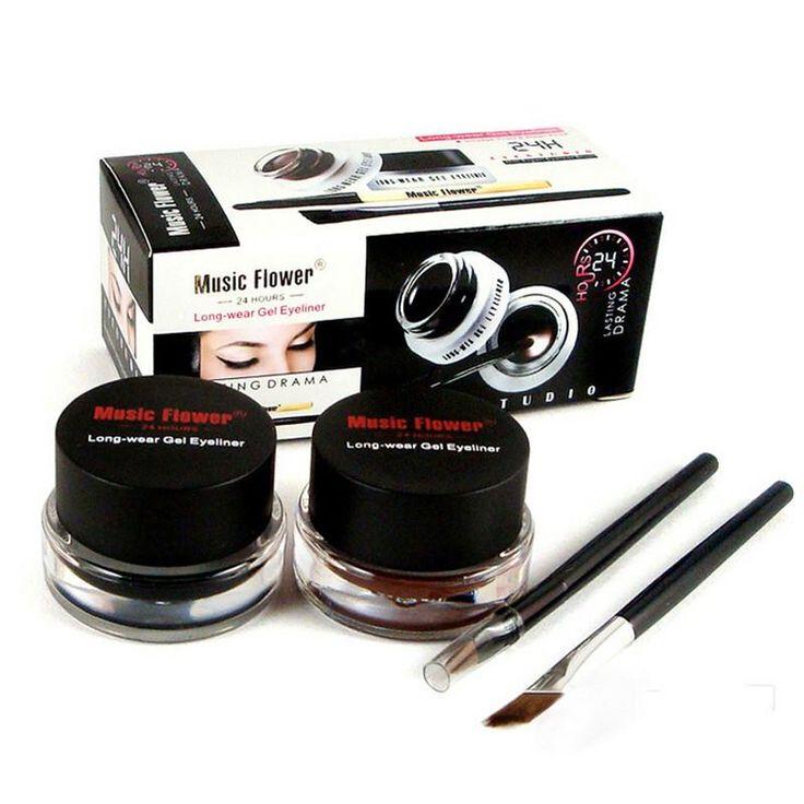 [Visit to Buy] Hot Sale Brand Music Flower Brown + Black Gel Eyeliner Make Up Waterproof Smudge-proof Cosmetic Set Eye Liner Makeup + 2 Brushes #Advertisement