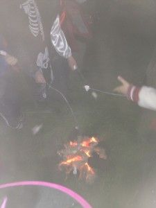 Toasting marshmallows at Tullyboy Farm Halloween