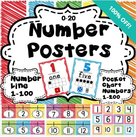 FREE at Educents, but only until 7/9! This set of number posters, number line, and pocket chart numbers is a great way to brighten up your math wall! http://www.educents.com/number-posters.html#LindaNelson