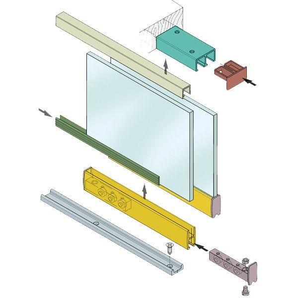 Complete set voor 2 glazen schuifpanelen - Totaal 190 cm breed, 2 x deur 100 cm - 93euro