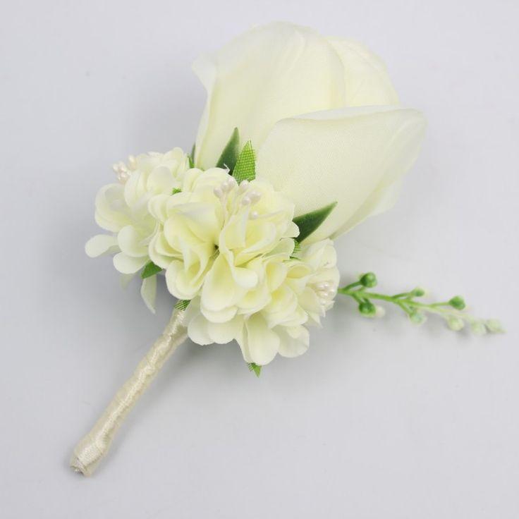 Marfil Blanco Amarillo Azul Flores Flor En El Ojal Del Novio Mejor Hombre Del Padrino de Boda Traje de Seda Broche Ramillete de Rose Decoración Accesorios(China (Mainland))