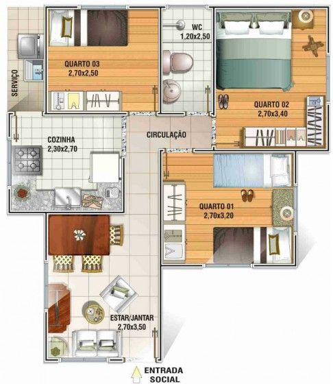 Plano de cabaña tres dormitorios