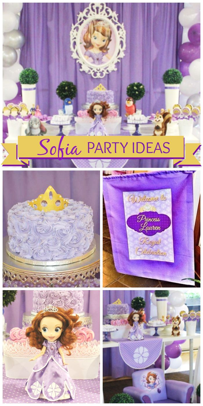 Sofia the First is the star of this royal, purple celebration!  See more party ideas at CatchMyParty.com!