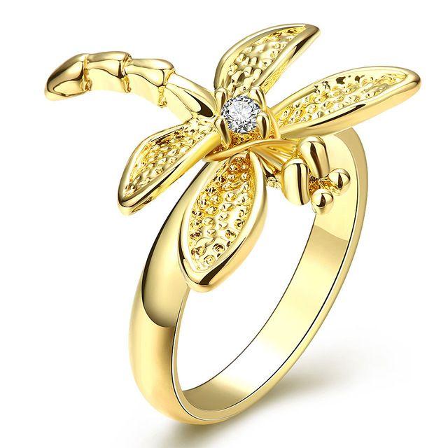 Envío Gratis Moda de Nueva Marca Diseño Luxurio 18 K Oro Verdadero Plateó los anillos de bodas de Piedra Libélula anéis joias RAKR066