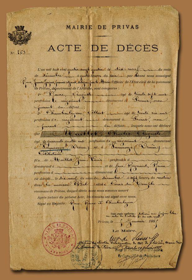 Acte de Deces from the Belle Brocante blog