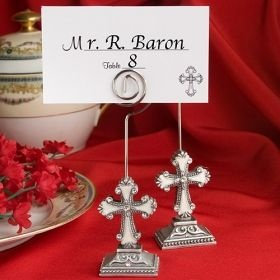 These elegant cross design place card/photo holders are a spirited way to welcome your guests to their tables. Whether you are celebrating a Christening, First Communion, Confirmation or other religious occasion, these place card / photo holders are a great addition to any table.