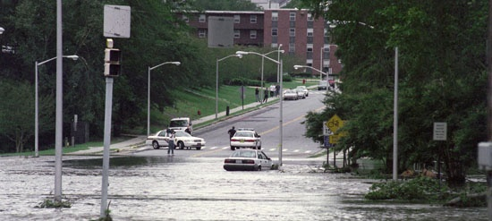 ECU's campus after Hurricane Floyd (freshman year)