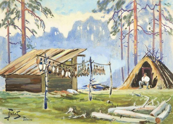Julian Fałat - Po polowaniu  na kaczki - Polesie