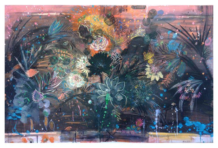 VENUS NEGRA 50X100 Cm, #lisergic, #dark, #acid colors, #venus, #flower, #flower power, #dark girl, #african, #texture, #painting, #watercolor, #wash, #lucas pertile