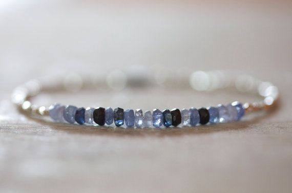 Blue sapphire bracelet with Karen Hill tribe silver faced by Filoe, $45.00